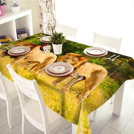 Two Lions Prairie Pattern Polyester 3D Tablecloth