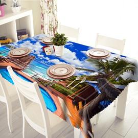 Luxurious Seaside Villa Scenery Pattern 3D Tablecloth