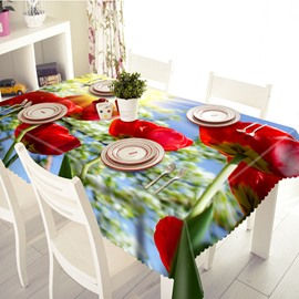Romantic Polyester Red Roses Pattern 3D Tablecloth