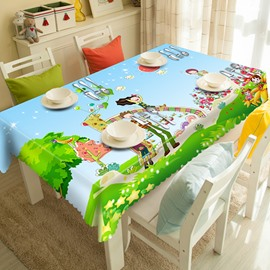 Blue Polyester Cartoon Natural Scenery Pattern 3D Tablecloth
