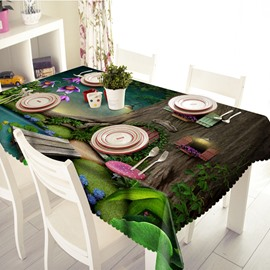 Green Polyester Log Cabin Pattern 3D Tablecloth