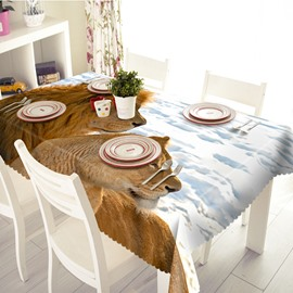 White Polyester Lion Pattern 3D Tablecloth