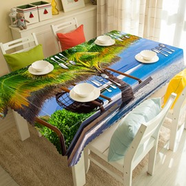 Cardiac Coconut Tree and Ocean Scenery 3D Tablecloth
