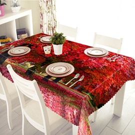 Amazing Polyester Red 3D Maple Pattern Tablecloth
