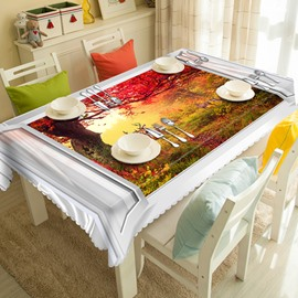 Beautiful Polyester Red Forest Curtain Pattern 3D Tablecloth