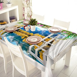 Creative Polyester Window Scenery 3D Tablecloth