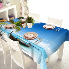 Blue Polyester Fishing-boat and Sea Scenery Pattern 3D Tablecloth