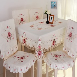 White Simple Style Handmade Embroidery Flower Pattern Chair Covers