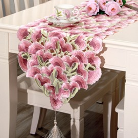 Wonderful Rectangle Polyester Flower Pattern Dining Room Decoration Table Runner