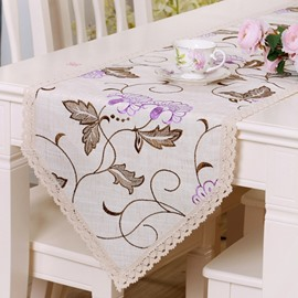 Rectangle Purple Flower Lace Crochet Home Decoration Table Runner