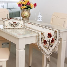 Rectangle Polyester Embroidery Flower Design Home Decoration Table Runner