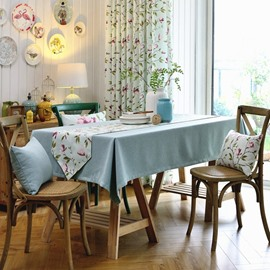 Wonderful Fabric Pure light Blue Color Washable Decorative Tablecloth