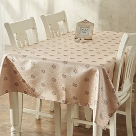 Lovely Simple Cotton and Polyester Rectangle Flower Pattern Dining Room Tablecloth