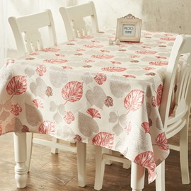 Gorgeous Rectangle Cotton Beautiful Leaves Prints Dining Room Decorative Tablecloth