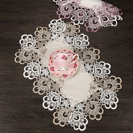Lovely Classical Lace Border Heat Insulation Rectangle Home Decorative Table Placemat