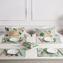 Stunning Country Style Green Flowers Pattern 4 Pieces Dining Room Decoration Heat Resistant Table Placemats