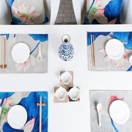 Elegant Blue Rectangle Lotus Pattern 4 Pieces Heat Resistant Table Placemats