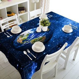 Blue Earth in Starry Sky Prints Durable Polyester Fibre Washable 3D Tablecloth