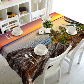Elegant Sunset Seaside Scenery Prints Washable Dining Room Decoration 3D Tablecloth
