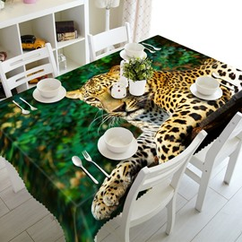 Lifelike Design Leopard Pattern Washable Home Decoration 3D Tablecloth