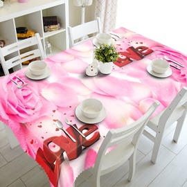 Romantic Love Pink Rose Petals Prints Polyester Fibre Washable 3D Tablecloth