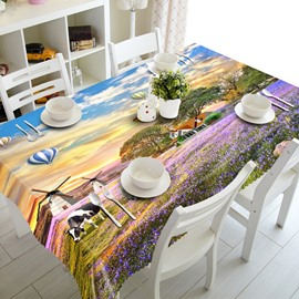 European Country Style Lavender Farm Pattern Washable 3D Tablecloth