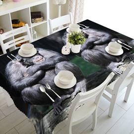 Two Cute Orangutan Prints Design Washable Polyester Fibre 3D Tablecloth