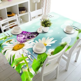 Bright White Flower and Purple Butterfly Prints Dining Room Decoration 3D Tablecloth