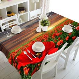 Gorgeous Red Flowers Field Prints Washable Dining Room Decoration 3D Tablecloth