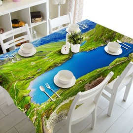 Blue Lake Natural Scenery Pattern Dining Room Decoration 3D Tablecloth