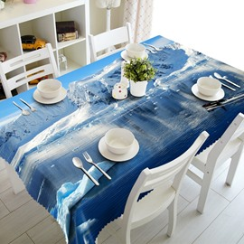 White Thicken Snow on the Sea Water Prints Washable 3D Tablecloth