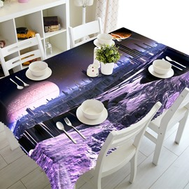 Purple Building and Starry Sky Prints Design Washable 3D Tablecloth