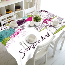 White Country Style Flowers and Birdcages Prints Washable 3D Tablecloth