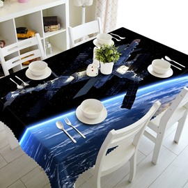 Magical Blue Spaceship in Space Prints Design Dining Room Decoration 3D Tablecloth