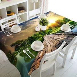 Unique Design Wooden Bridge over the River Prints 3D Tablecloth