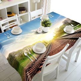 Sunshine Railway Scenery Pattern Design Washable 3D Tablecloth