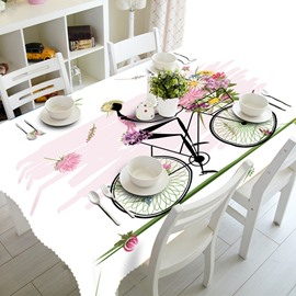 Cute Cartoon Beautiful Girl Riding a Bike Prints Polyester Fibre 3D Tablecloth