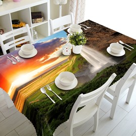 Sunset Waterfall Natural Scenery Prints Design Washable 3D Tablecloth