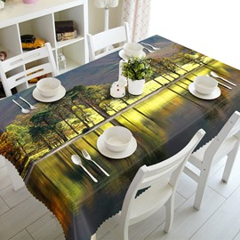 Green Trees by the River Natural Scenery Prints Washable 3D Tablecloth