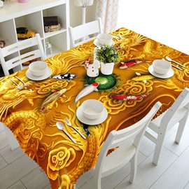 Golden Dragons and Goldfishes Prints Design Washable Polyester Fibre 3D Tablecloth