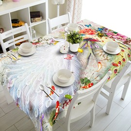 Creative Peacock Feather and Butterfly Prints Design Washable 3D Tablecloth