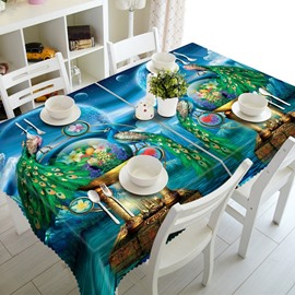 Fancy Peacocks Prints Dining Room Decoration 3D Tablecloth