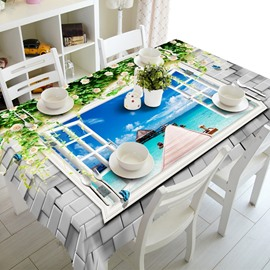 Natural Window Seaside Scenery Prints Washable 3D Tablecloth