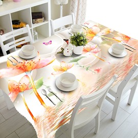 Fresh Flowers and Water Pattern Design Home Decorative 3D Tablecloth