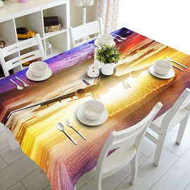 Fabulous Airplane in Sunset Scenery Prints Home Decorative 3D Tablecloth