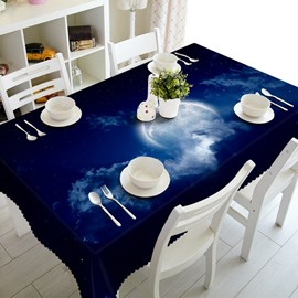 Dreamy Blue Round Moon in Night Sky Prints Home Decoration 3D Tablecloth
