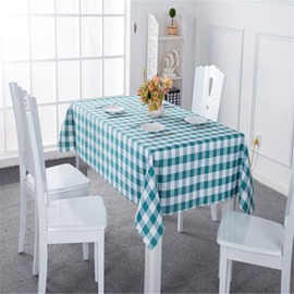 Green and White Plaids Simple Style Chemical Fiber Soft 1 Piece Tablecloth