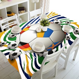 3D Footballs Printed Thick Polyester Oil-Proof and Water-Proof Modern Table Cloth
