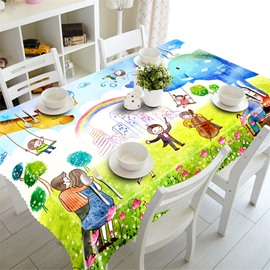 3D Table Cloth Happy Family Party Printed Home and Hotel Table Cloth Cover