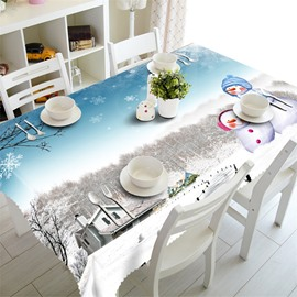3D Snowman and Trees with White Snow Printed Pastoral Style Table Cover Cloth